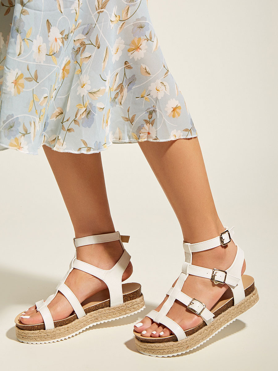 Womens White Gladiator Sandals PU Leather Round Toe Ankle Strap Summer Sandals