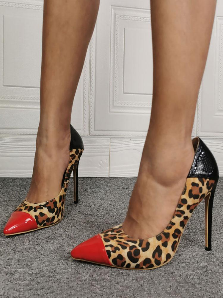 Women Leopard High Heels Pointed Toe Stilettos Suede Pumps Party Shoes Plus Size