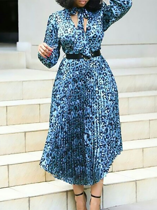 Plus Size Kleid Fur Frauen V Ausschnitt Mit Langen Armeln Gedruckt Lycra Spandex Blaues Langes Kleid Milanoo Com