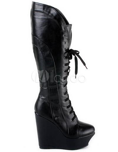 eb8387d8d73 Botas negras cordones cuero cuña para mujer - Milanoo.com