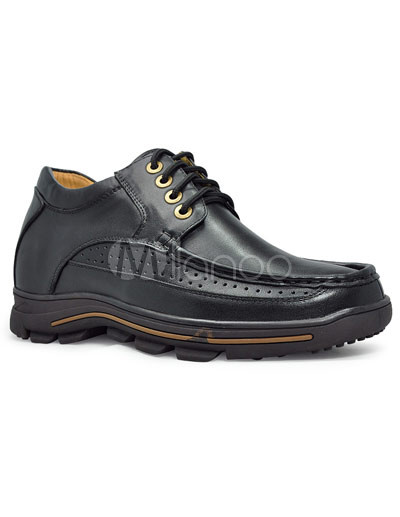 Casual Black Cow Leather Rubber Sole Lace-Up Men's Taller Shoes