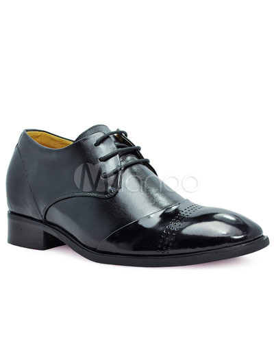 Cool Black Cow Leather PU Sole Men's Elevator Shoes