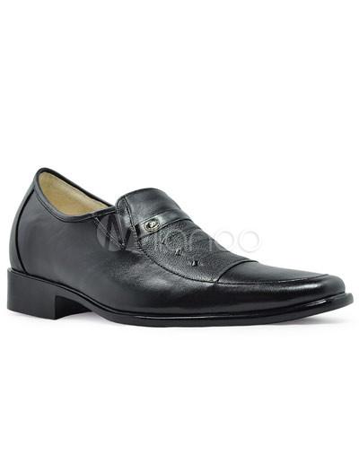 Popular vaca negro cuero suela PVC zapatos de los hombres más altos uEA6xkERT