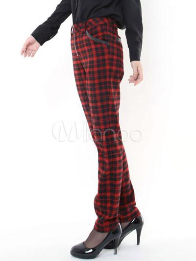 fashion black red plaid pattern cotton wool womens skinny pants