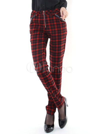 Fashion Black Red Plaid Pattern Cotton Wool Womens Skinny