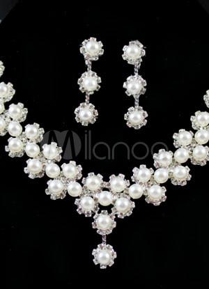 White Metal Imitation Pearl Flower Brides Wedding Jewelry Set