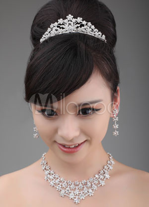 Silver Flower Pattern Alloy Crystal Silver Plating Wedding Jewelry Set