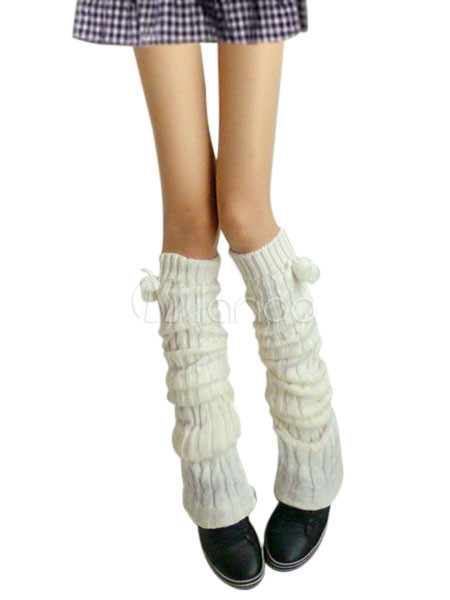 f98b287e1 White Thicken Fur Ball Zettai Ryouiki Thigh High Socks - Milanoo.com
