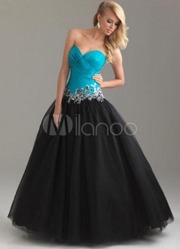 Strapless vestido de tul negro, de novia rebordear Ball azul ...