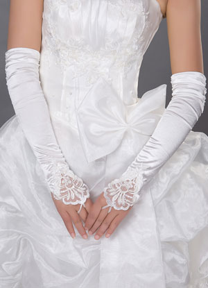 8b43d15ec ... Ivory Wedding Bridal Mitten Lace Cut Out Chic Elbow Length Mitten-No.4