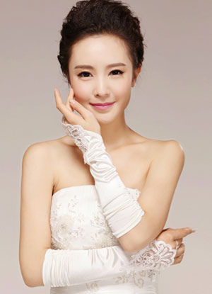 dc5687b22 ... Ivory Wedding Bridal Mitten Lace Cut Out Chic Elbow Length Mitten-No.3  ...