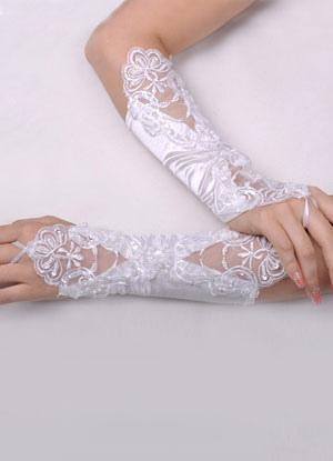 Elbow Length Wedding Gloves With Applique