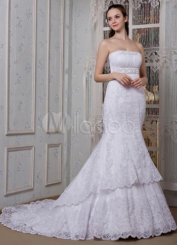 Vestido de boda blanco de red y de encaje estilo trompeta/sirena sin ...