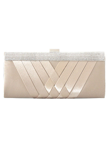 Cover Pattern Horizontal Shape Check Rhinestone Silk Clutch Bag