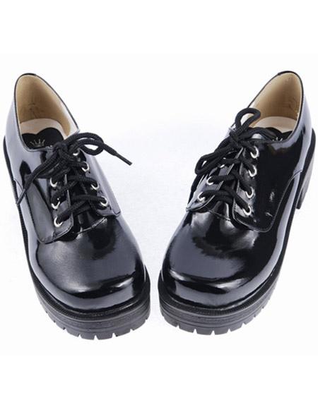 Zapatos negros de lolita de PU de estilo dulce EIe3GbJ