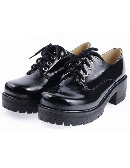 Black Lace-Up Round Toe Square Heel Patent Leather Lolita Shoes