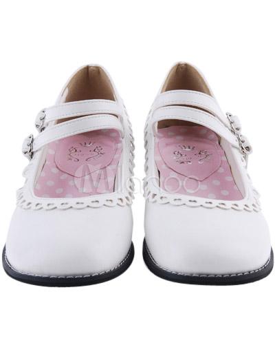 Blanco Lolita Tacones Cuadrados Zapatos Trim Tirantes Hebillas iRxAYa6