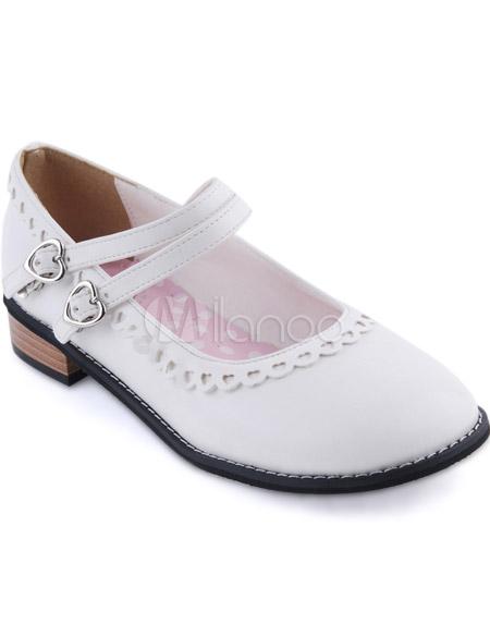 Blanco Lolita Tacones Cuadrados Zapatos Trim Tirantes Hebillas IvsLr9U