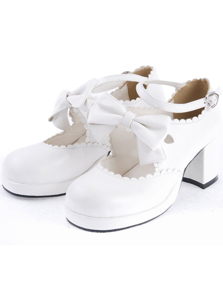 Sweet White Chunky Heels Lolita Shoes Ankle Strap Bow Decor Round Toe