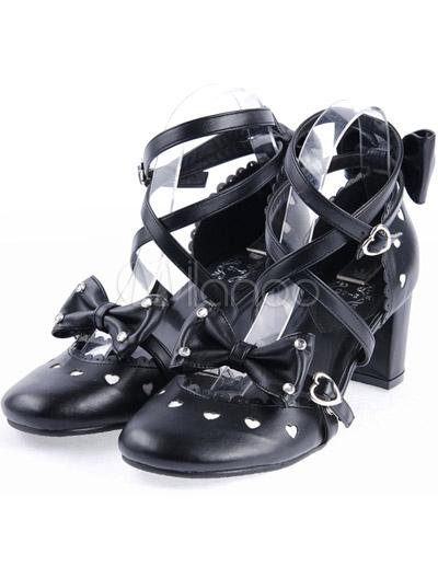 Zapatos de lolita de PU negro con lazo w7vMJpns27