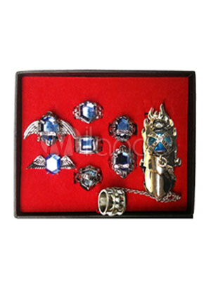 Katekyo Hitman Reborn Blue Alloy Cosplay Ring Set With Box Halloween