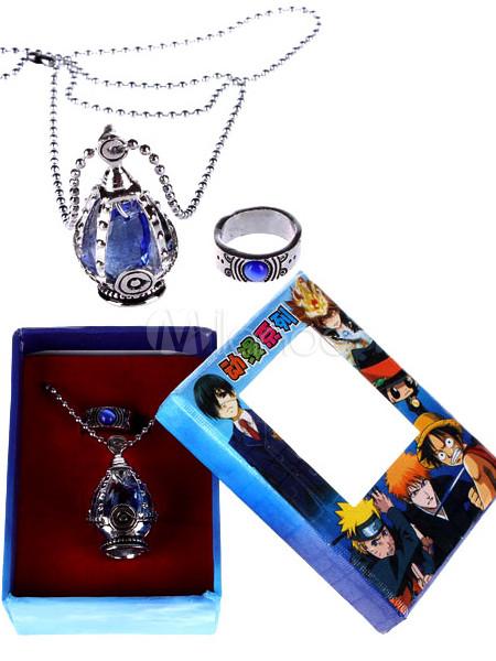 Puella Magi Madoka Magica Blue Alloy Anime Ring Necklace Set Halloween