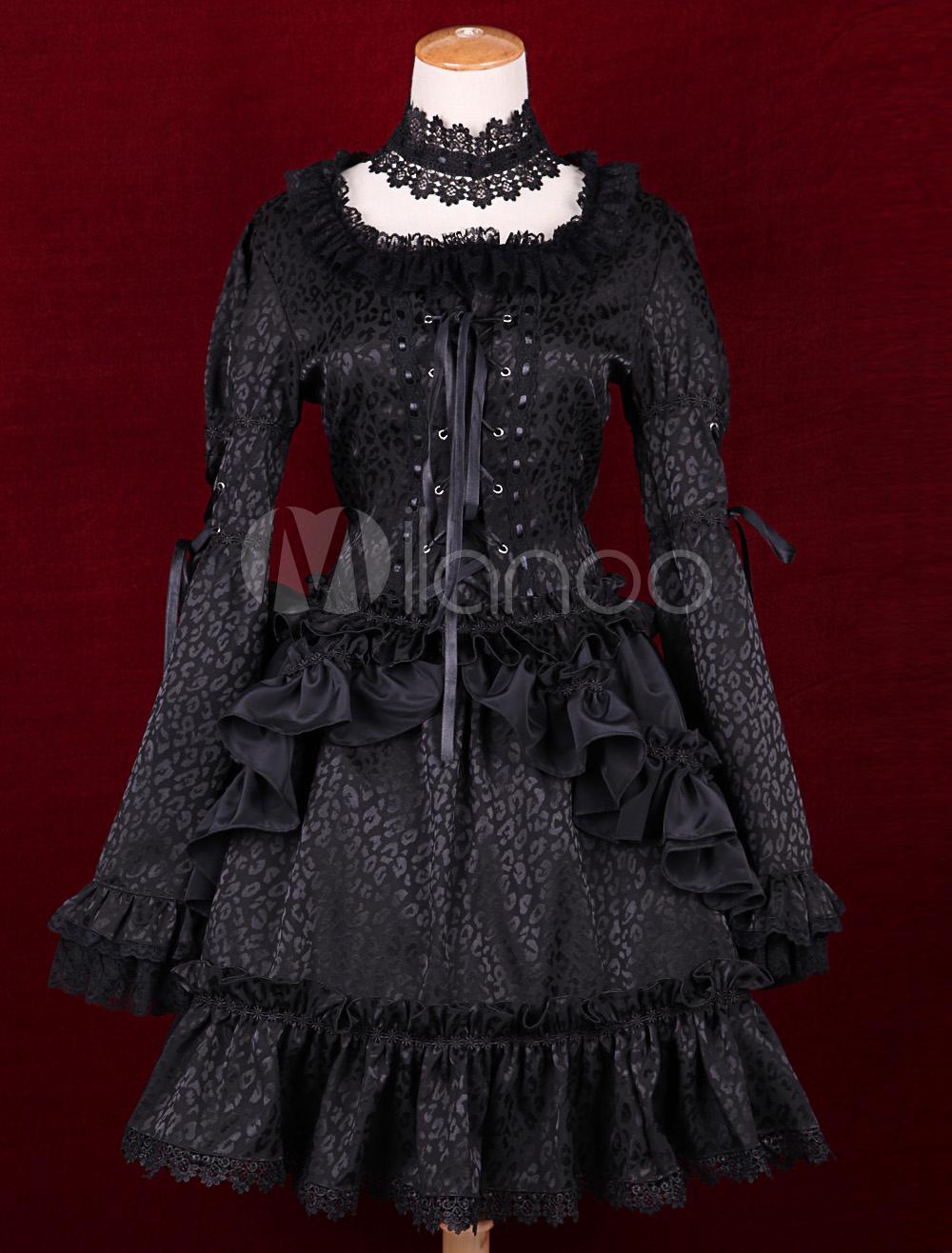 Buy Black Satin Square Neck Long Sleeves Ruffles Gothic Lolita Dress for $80.99 in Milanoo store