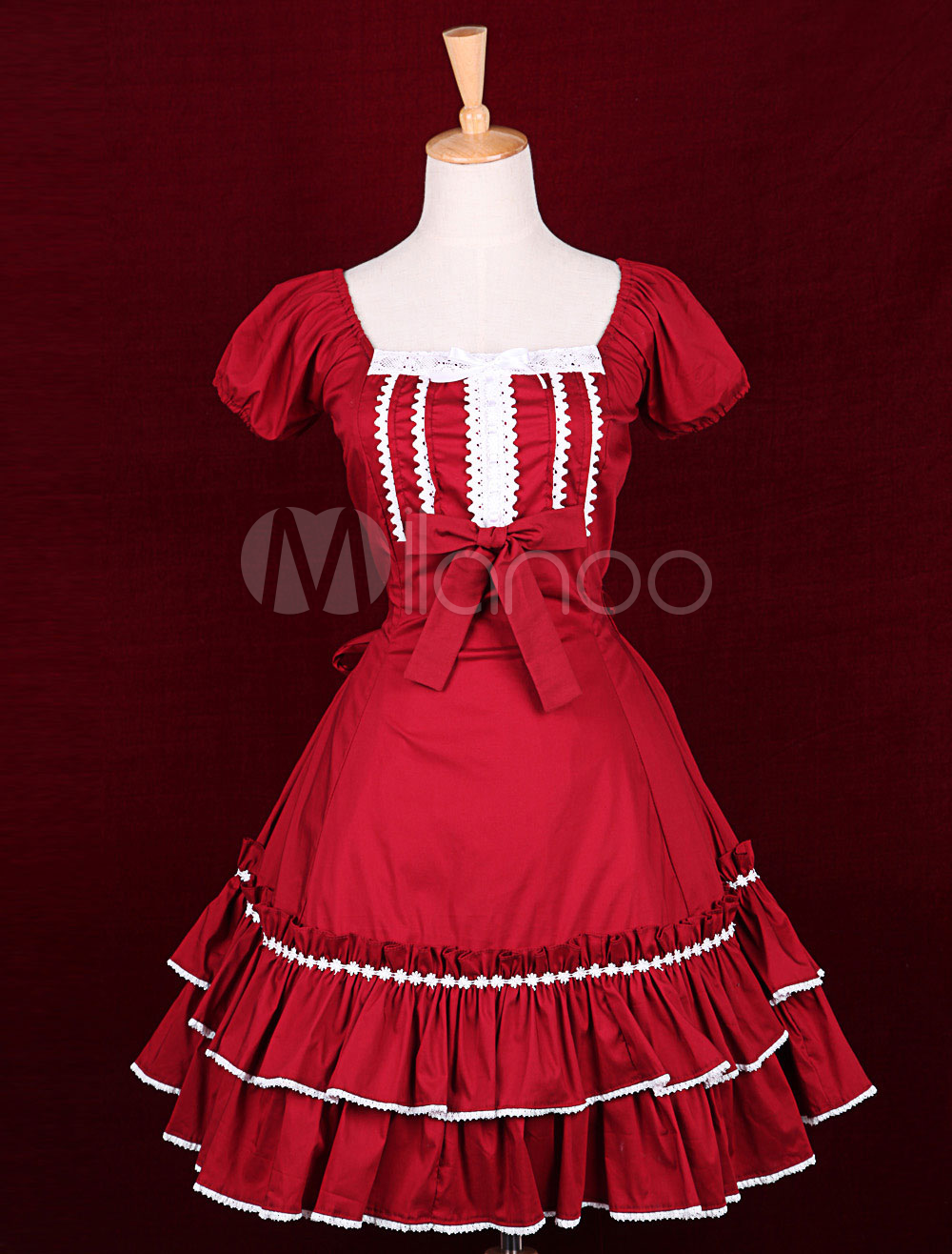 Buy Red Cotton Square Neck Short Sleeves Bow Classic Lolita Dress for $89.99 in Milanoo store
