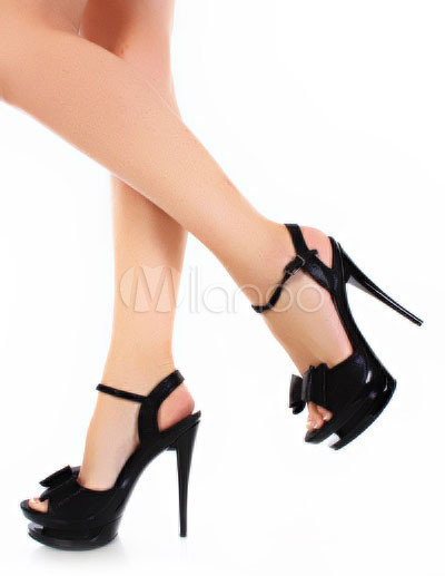 Buy Black Bow Open Toe Patent Leather Womens Sexy Sandals for $76.49 in Milanoo store