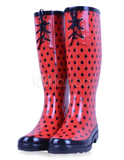 Botas de chuva vermelha bolinhas borracha joelho frente alta Lace-up  decoração femininas-No ... 8e728ec407