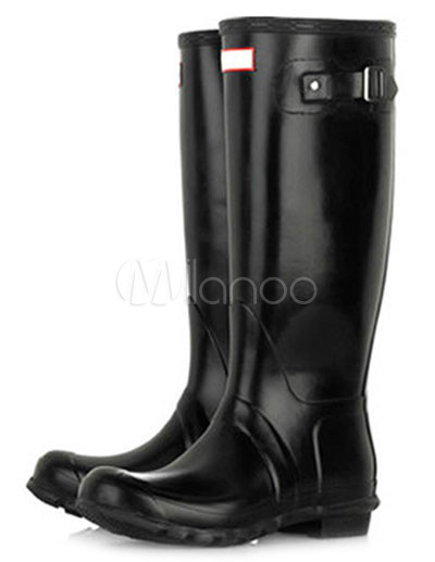 394dcaa5cc9 Botas de chuva de borracha preta vintage altura do joelho impermeável  feminino-No.1 ...