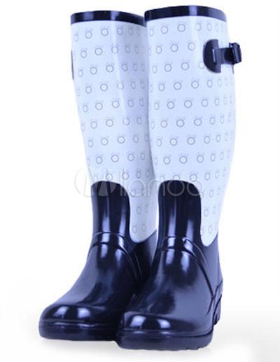 1ff45629b00 Borracha preta de bolinhas joelho fivela botas de chuva de decoração  femininas-No.1 ...