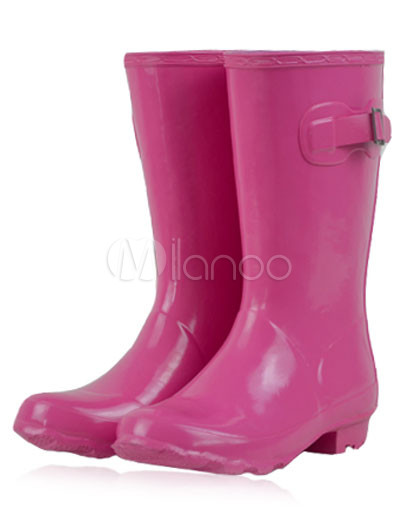 9b5fc11fc07 Borracha fúcsia meados botas de chuva impermeável de bezerro comprimento  femininas-No.1 ...