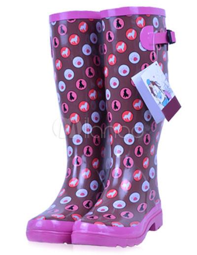 49d69bd8614 Multi-Color bolinhas borracha joelho botas Rain femininas - Milanoo.com