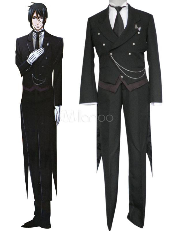 Black Butler Kuroshitsuji Sebastian Michaelis Halloween Cosplay Costume  Halloween