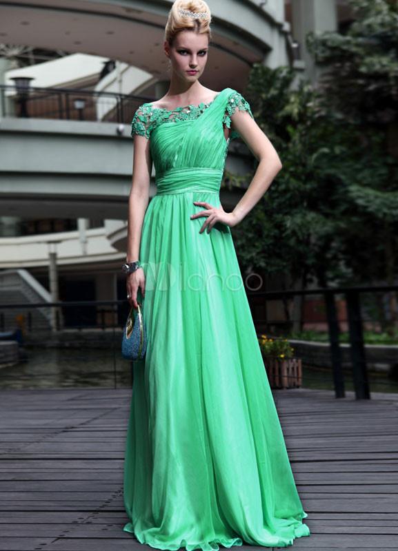 vestido de noche de gasa verde de línea a - milanoo