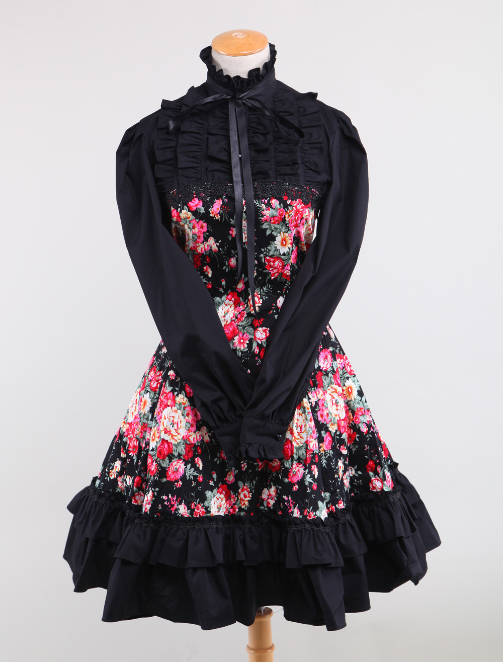 Buy Black Floral Sweet Stand Collar Long Sleeves Cotton Lolita Dress for $89.99 in Milanoo store