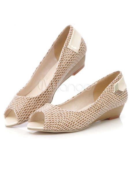 Sexy Snake Print Peep Toe PU Womens Low Heel Shoes - Milanoo.com