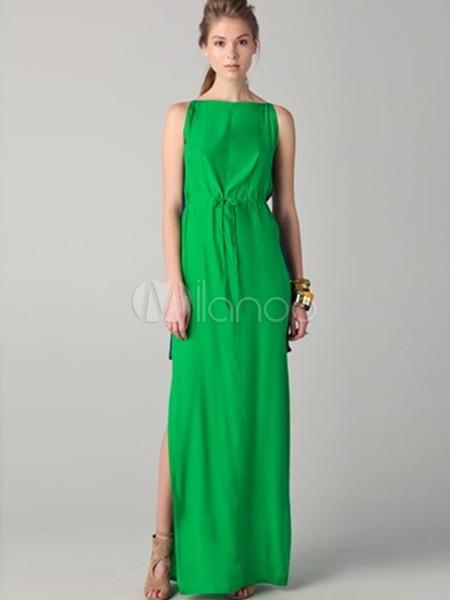 Abito lungo verde classico elegante di poliestere - Milanoo.com 162b8d70e58