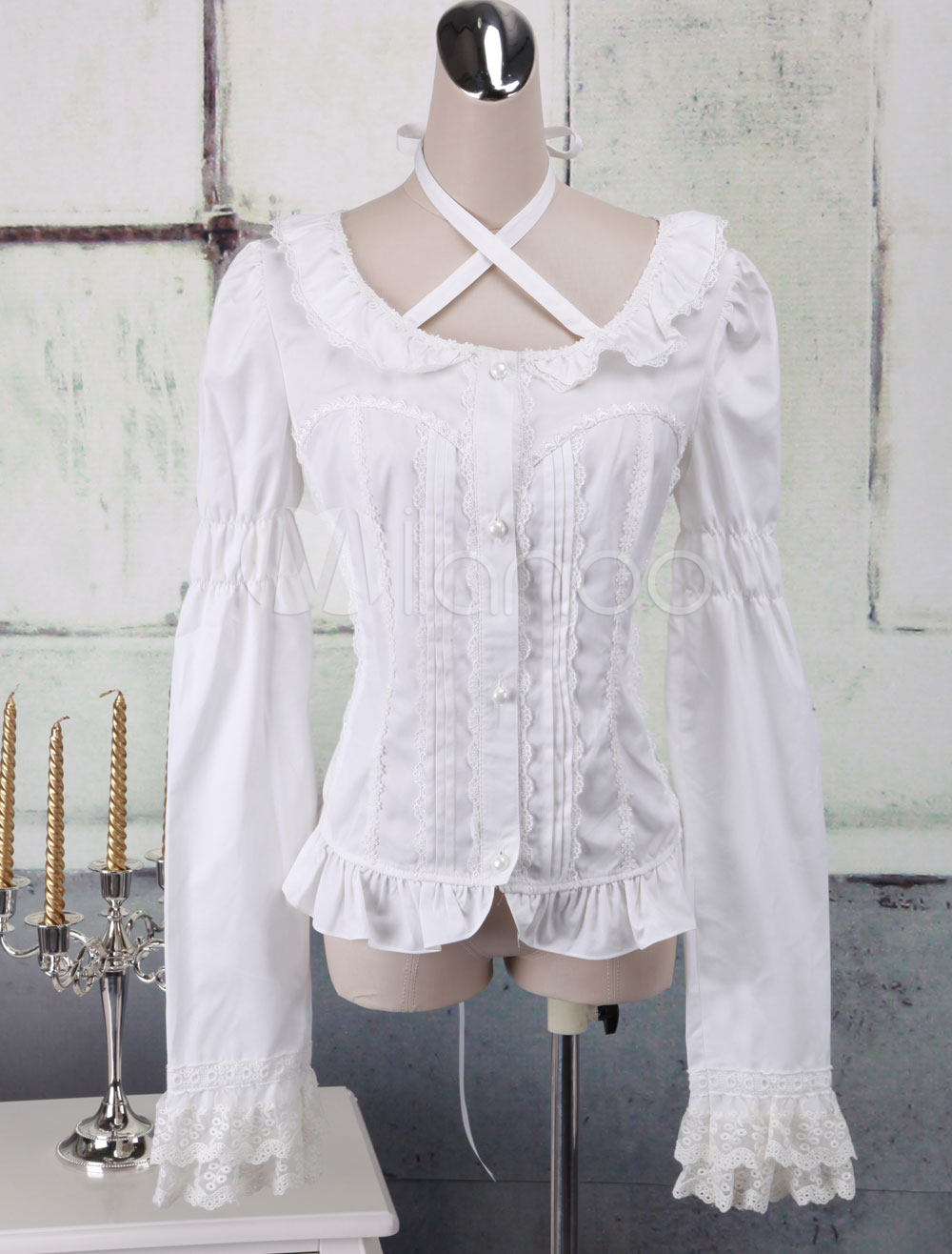 Buy White Cotton Lolita Blouse Long Sleeves Lace Trim Neck Straps Round Collar for $53.99 in Milanoo store