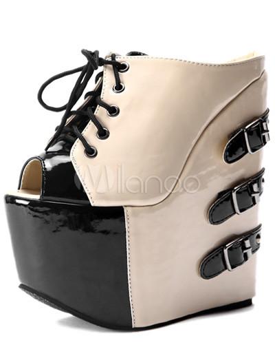 Modernos encajes de Peep Toe charol albaricoque hasta zapatos de cuña de  hebillas de la mujer a0ab877df8c7