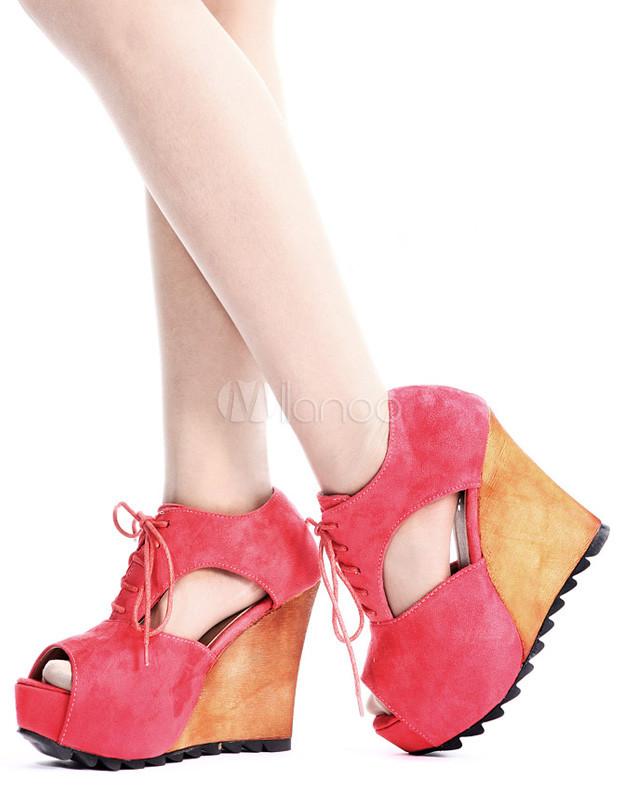 Zapatos de cuña de cuero con apariencia suave de color sandía con diseño hueco ZtsAefLH4