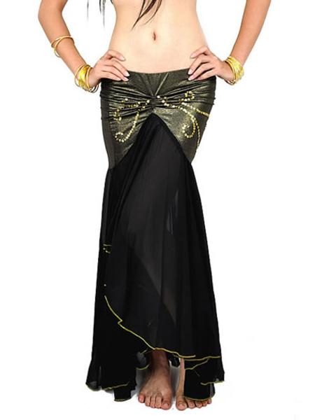 Belly Dance Costume Skirt Black Pleated Mermaid Trumpet Viscose Women's Bollywood Dance Bottom