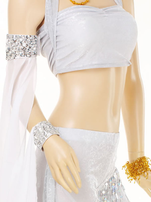 Sleeves Belly Dance Costume White Polyester Women's Bollywood Dance Accessories