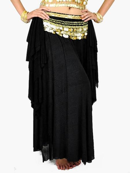 Skirt Belly Dance Costume Black Ruffles Viscose Women's Bollywood Dance Bottom