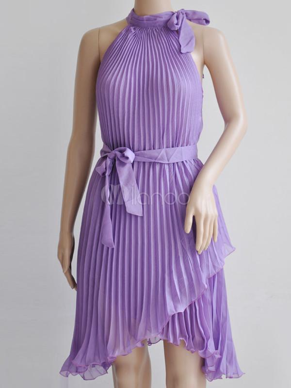 Doble capa plisado vestido de chifón hoja Womens verano - Milanoo.com