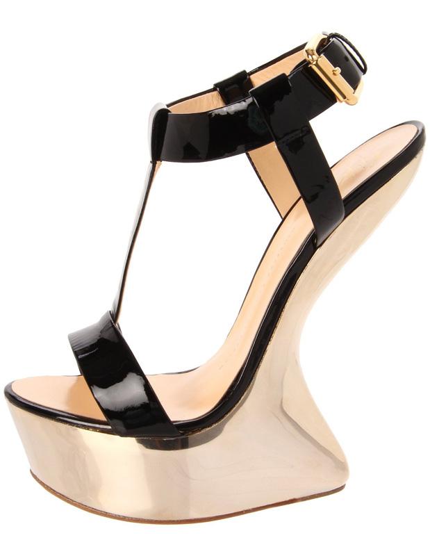 Black T-Strap Open Toe Buckle Special Shaped Heel Womens Sandals