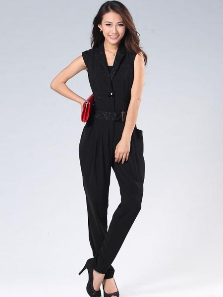 Tuta intera nera elegante in cotone misto - Milanoo.com c84cfe3033f