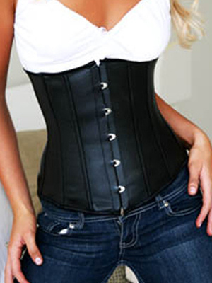 Black Satin Lace-Up Front Button Womens Corsets