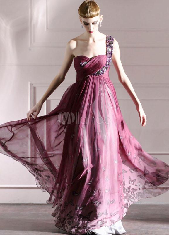 Vestido de noche de gasa de color púrpura sin mangas con diamante de ...